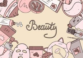 Cosmetic beauty banner. Hand drawn style.Vector collection with the image of cosmetic products and lettering. Korean kosmetics. vector