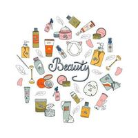 Beauty set with cosmetic products. Collection of bottles, tubes, jars, cosmetic accessories in hand-drawn style. Set of Korean skin care products. vector