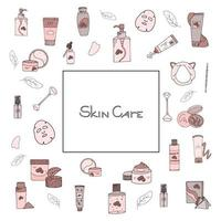 Beauty set with cosmetic products. Collection of bottles, tubes, jars, cosmetic accessories in hand-drawn style. Set of Korean skin care products. Lettering text vector
