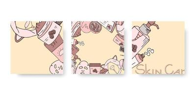 Skin care banner set for social media with hand drawn cosmetics. Vector illustration for beauty. Korean skin care