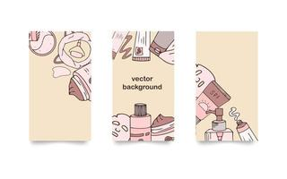 Set of backgrounds for social media stories. Hand drawn cosmetics. Vector illustration for beauty. Korean skin care