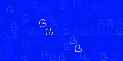 Light Pink, Blue vector pattern with colorful hearts.