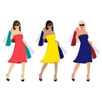 girls in dresses with shopping bags vector