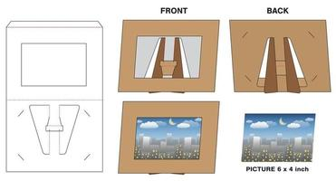 Picture photo paper frame stand die-cut mock-up vector