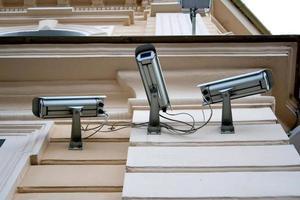 Three CCTV security cameras photo
