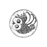 cuenco de quinua dibujado a mano aislado sobre fondo blanco. ilustración vectorial en estilo boceto. vector