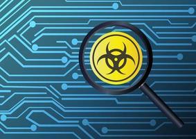 Lupa para encontrar virus infectados con fondo de placa de circuito vector