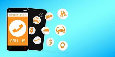 Smartphone with transport service application vector