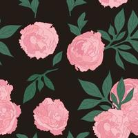 seamless pattern with beautiful peonies flowers. Vector isolated illustration in hand drawn style