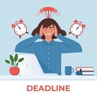 Deadline concept. Anxious business woman at the computer with alarm clock. Vector illustration in cartoon flat style