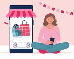 Girl is making purchases via smartphone. Valentine s Sale, online shopping concept. Vector illustration in flat style