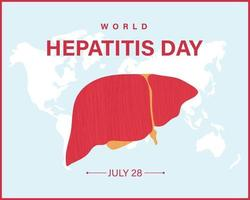 World Hepatitis Day banner with world map and Liver. Vector illustration