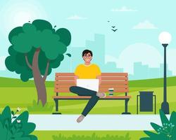 Freelancer man sitting on a bench with a laptop in the park. Spring or summer city landscape. Vector illustration in flat style