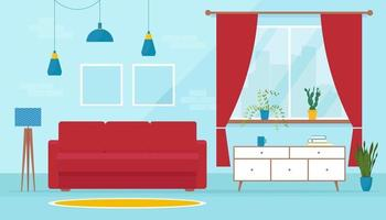 Cozy modern living room in flat style. Soft sofa in interior. Design of a living room with sofa, TV stand, window and decor accessories. Vector banner