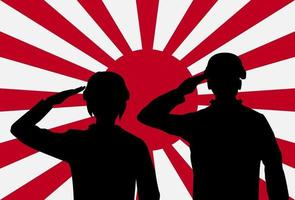 Silhouette of japan soldiers on rising sun japan flag vector