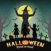 Halloween kids in front of witch in graveyard vector