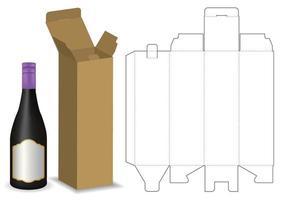 caja de cartón troquelada para maqueta de paquete de botella vector