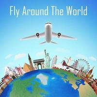 avión, vuela alrededor del mundo con puntos de referencia mundiales vector