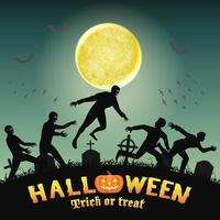humanos de halloween escapando de zombies en el cementerio vector