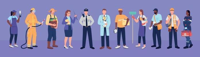 trabajadores esenciales personajes sin rostro vector