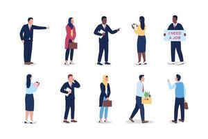 conjunto de caracteres sin rostro interracial desempleados vector