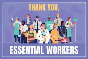 Frontline essential workers social media post mockup vector