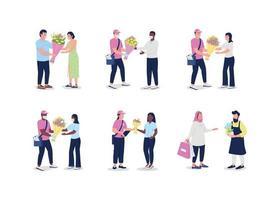 Mensajeros de entrega de flores con conjunto de caracteres sin rostro de clientes. vector