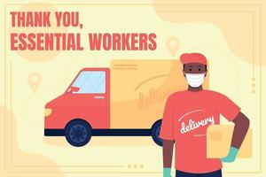 Delivery service worker social media post mockup