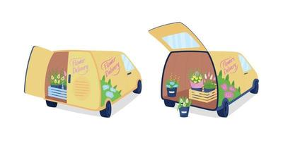 Flower delivery vans flat color vector object set