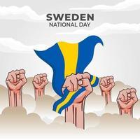 día nacional de suecia. se celebra anualmente el 6 de junio en suecia. feliz fiesta nacional de la libertad. bandera sueca. vector