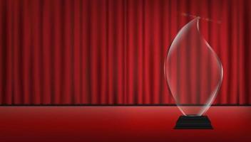 Trofeo de acrílico transparente 3d real con fondo de escenario de cortina roja vector