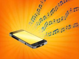 teléfono inteligente que reproduce música con notas musicales aleatorias de muestra flotante vector