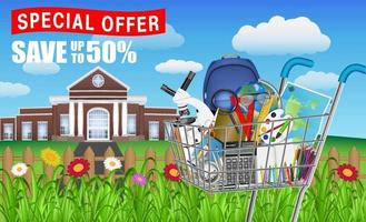 back to school with cart full of education objects vector