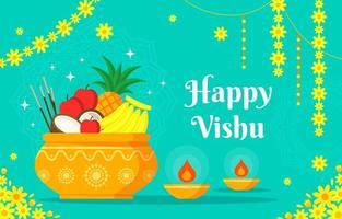 Happy Vishu Background Design vector