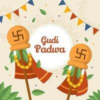 Gudi Padwa Flat Background Design vector