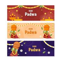 Gudi Padwa Banner Collection vector