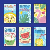 Cute Summer Greeting Card Collection vector
