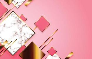fondo geométrico rectángulo rosa y dorado vector
