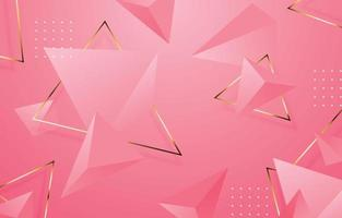 Pink 3D Triangle Geometric Background vector