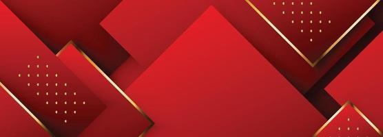 diseño de banner largo rectángulo rojo y dorado vector