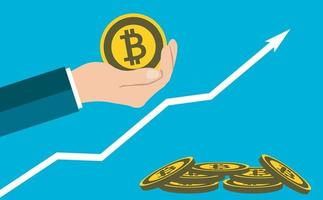 Bitcoin concept growth chart hand holding.Give a medal bitcoin vector