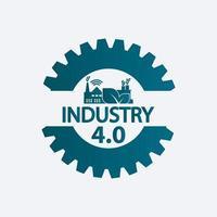 Industria 4.0 icono, logotipo de fábrica, concepto de tecnología ilustración vectorial. vector