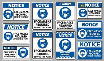 Notice Face Masks Required Beyond This Point Sign Isolate On White Background vector