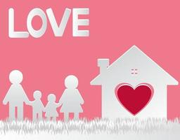 paper cut vector.Happy family at home mom and dad standing hand shake with boy and girl. the house with the heart with love. vector