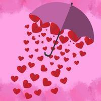 El corazón rojo está en un hermoso paraguas rosa sobre fondo rosa. para la tarjeta de felicitación del día de San Valentín. vector