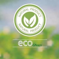 Vector blurred landscape design of green natural product logo ecology green label.Beautiful green circle pattern.With two leaves put together.