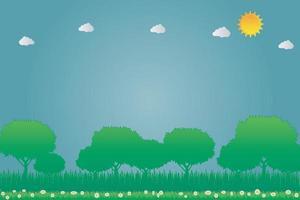 Sun energía limpia concepto ecológico ideas sobre flores y árboles de fondo ilustración vectorial. vector