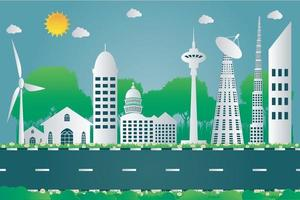 Building cityscape of the city beautiful paper art style,vector illustration vector
