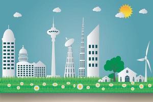 edificios, paisaje urbano, ecología, turbinas eólicas, con, árboles, y, sol, energía limpia, ecológico, concepto, ideas., vector, ilustración vector