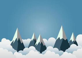 Snow Mountain with beautiful clouds.paper art. vactor illustration. vector